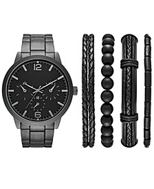 Men's Black Stainless Steel Bracelet Watch 46mm Gift Set