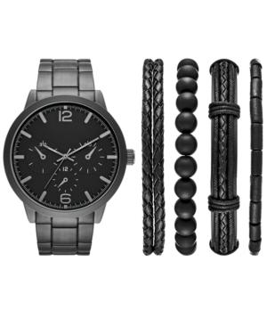Men's Black Stainless Steel Bracelet Watch 46mm Gift Set