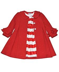Toddler Girls Stripe Dress and Coat Set