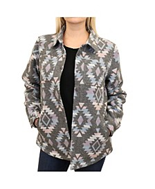 Women's Western Pattern Knit Jacquard Shirt Jacket with Polar Fleece Lining