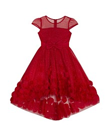 Big Girl Illusion Glitter Mesh Dress With Soutache High Low Skirt