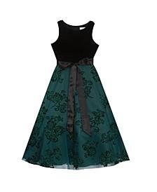 Big Girl Velvet Bodice To Glitter Mesh Maxi Skirt