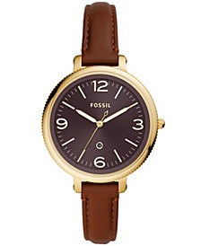 Women's Monroe Gold-Tone Brown Leather Strap Watch 38mm