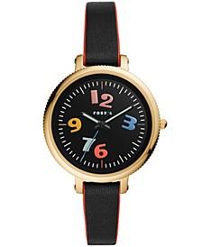 Women's Monroe Black Leather Strap Watch 38mm