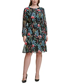 Tommy Hilfiger Plus Size Floral-Print Tie-Waist Fit & Flare Dress