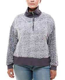 Trendy Plus Size Zip-Neck Faux-Sherpa Sweater