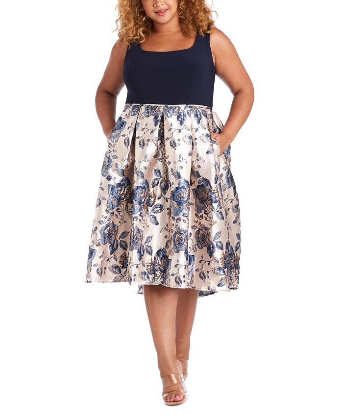 R & M Richards - Plus Size Metallic-Skirt Dress