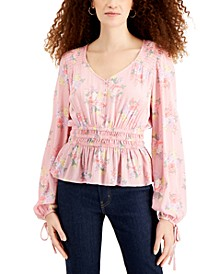 Juniors' Printed Peplum Peasant Top