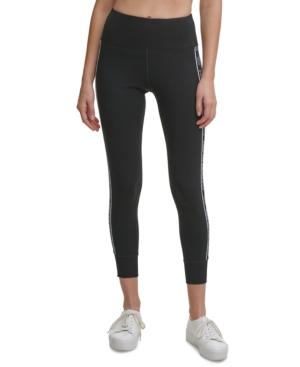 Calvin Klein Performance Outline-logo High-waist 7/8 Leggings In Black