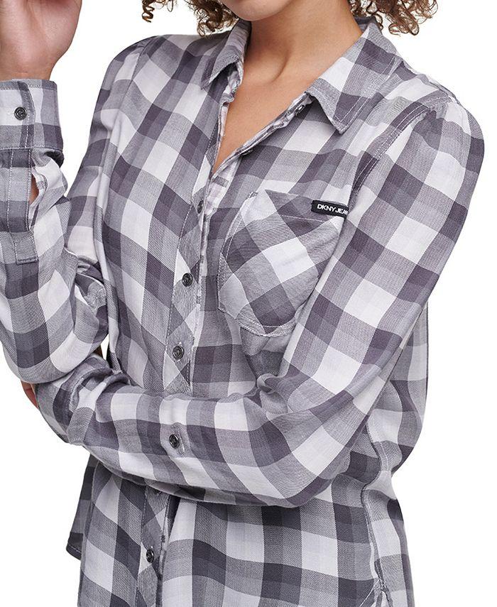 DKNY Jeans - Plaid Puff-Sleeve Shirt
