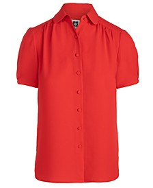 Collared Button-Front Blouse