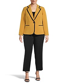 Plus Size Contrast-Trim One-Button Pantsuit