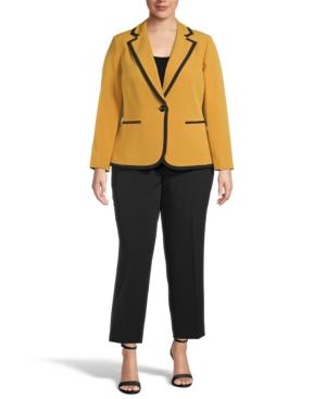 Plus Size Contrast-Trim One-Button Pantsuit
