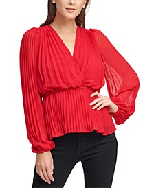Pleated V-Neck Wrap Blouse