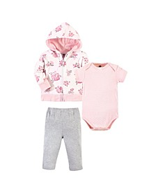 Baby Boys 3 Piece Cotton Hoodie, Bodysuit and Pant Set