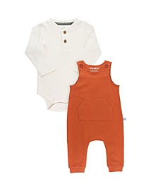 Baby Boys Long Sleeve Henley Bodysuit and Ribbed Longall Set