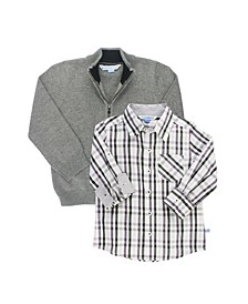 Baby Boys Long Sleeve Button Down Shirt and Sweater Set