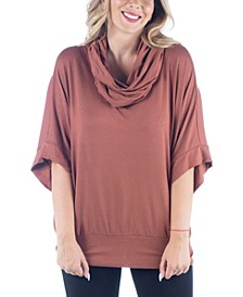 Women's Plus Size Oversized Cowl Neck Tunic Top