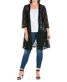 Women's Plus Size Lace Cardigan