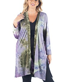 Women's Plus Size Tie Dye Cardigan