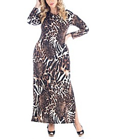 Women's Plus Size Cheetah Print Maxi Dress