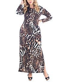 Women's Plus Size Cheetah Print Maxi Dress