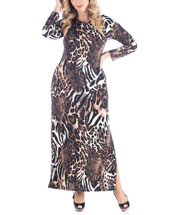 24seven Comfort Apparel Women's Plus Size Cheetah Print Maxi Dress