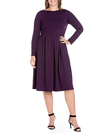 Women's Plus Size Fit and Flare Midi Dress