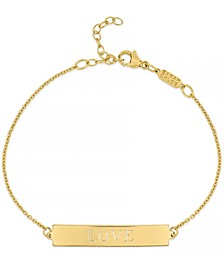Love ID Plate Chain Bracelet in 14k Gold-Plated Sterling Silver