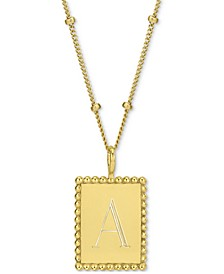 "Engraved Initial Square Pendant Necklace in 14k Gold-Plated Sterling Silver, 18"" + 2"" extender"