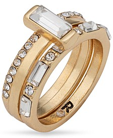 Gold-Tone Crystal Attached Trio-Ring