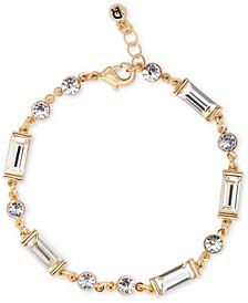 Gold-Tone Round & Baguette-Crystal Flex Bracelet