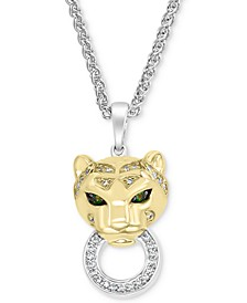 "EFFY® Diamond (1/8 ct. t.w.) & Tsavorite Accent Panther Doorknocker 18"" Pendant Necklace in Sterling Silver & 14k Gold-Plate"