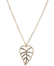 "Gold-Tone Delicate Pavé Open Leaf Long Pendant Necklace, 32"" + 2"" extender"
