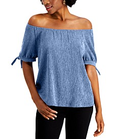 Off The Shoulder Tie-Sleeve Top, Created for Macy's