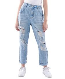 Juniors' High Rise Barrel-Fit Jeans