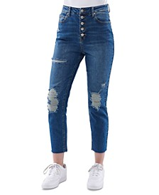 Juniors' Button-Front Mom Jeans