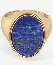 Gold-Tone Lapis Signet Ring