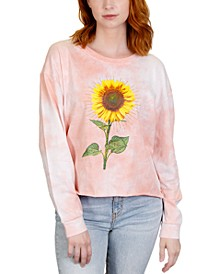 Juniors' Sunflower Tie-Dye Graphic T-Shirt
