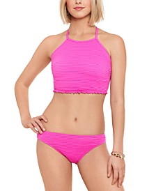 Juniors' Smocked Longline Bikini Top & Hipster Bikini Bottoms, Created for Macy's