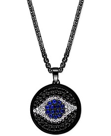"""EFFY® Men's Sapphire (1-1/2 ct. t.w.) & Black Spinel Evil Eye 22"""" Pendant Necklace in Black PVD over Sterling Silver"""