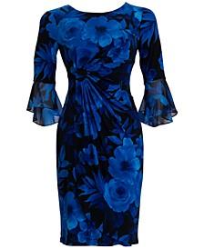 Flounce-Sleeve Floral-Print Sheath Dress
