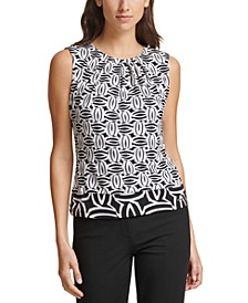 Geo-Print Pleated-Neck Top