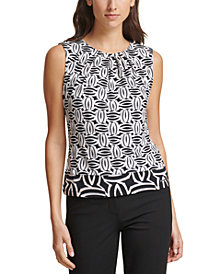Calvin Klein Geo-Print Pleated-Neck Top