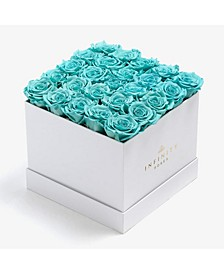 Square Box of 25 Tiffany Blue Real Roses Preserved to Last Over a Year