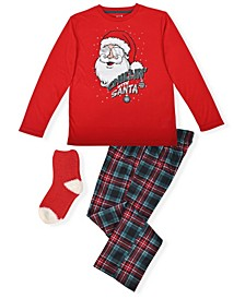 Big Boy's 2 Piece Santa Pajama Set with Socks