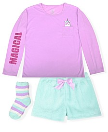 Big Girl's 2 Piece Short Pajama Unicorn Printed Set with Socks
