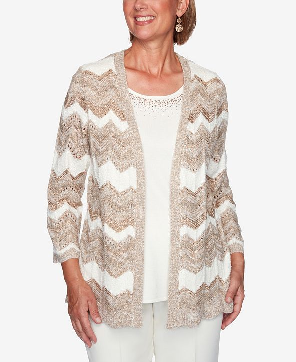 Alfred Dunner Women's Plus Size Dover Cliffs Chevron Pointelle Two-For-One Sweater