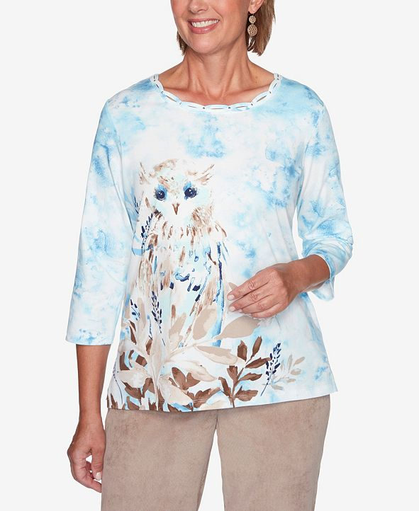 Alfred Dunner Women's Plus Size Dover Cliffs Snowy Owl Top
