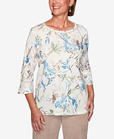 Women's Plus Size Dover Cliffs Birds Knit Top